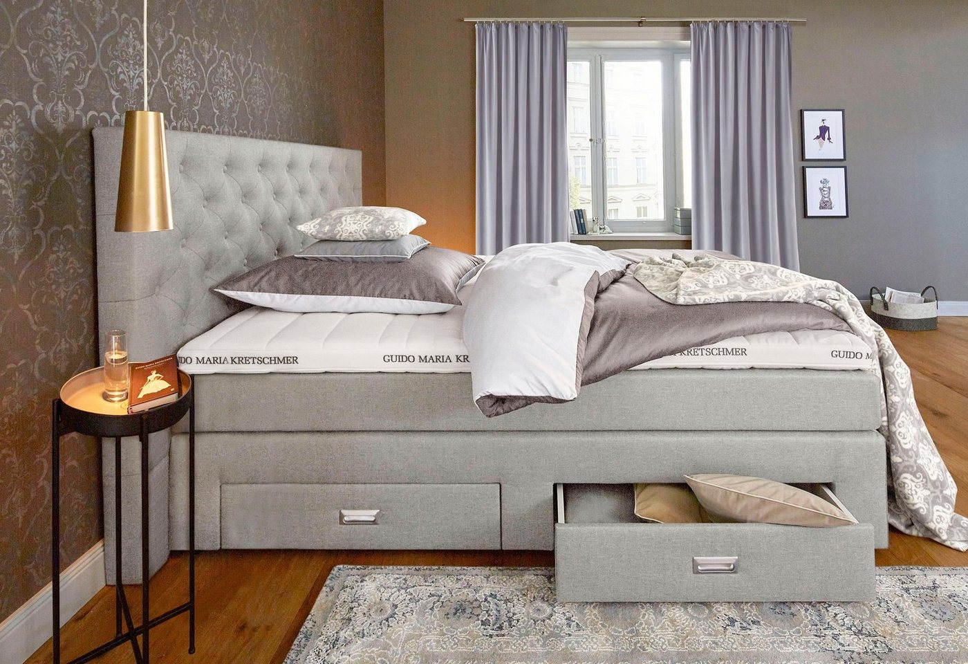 boxspringbett aivi mit bettkasten von gmk home living federkern. Black Bedroom Furniture Sets. Home Design Ideas